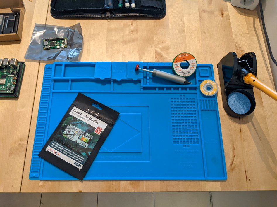 working mat displaying hardware components