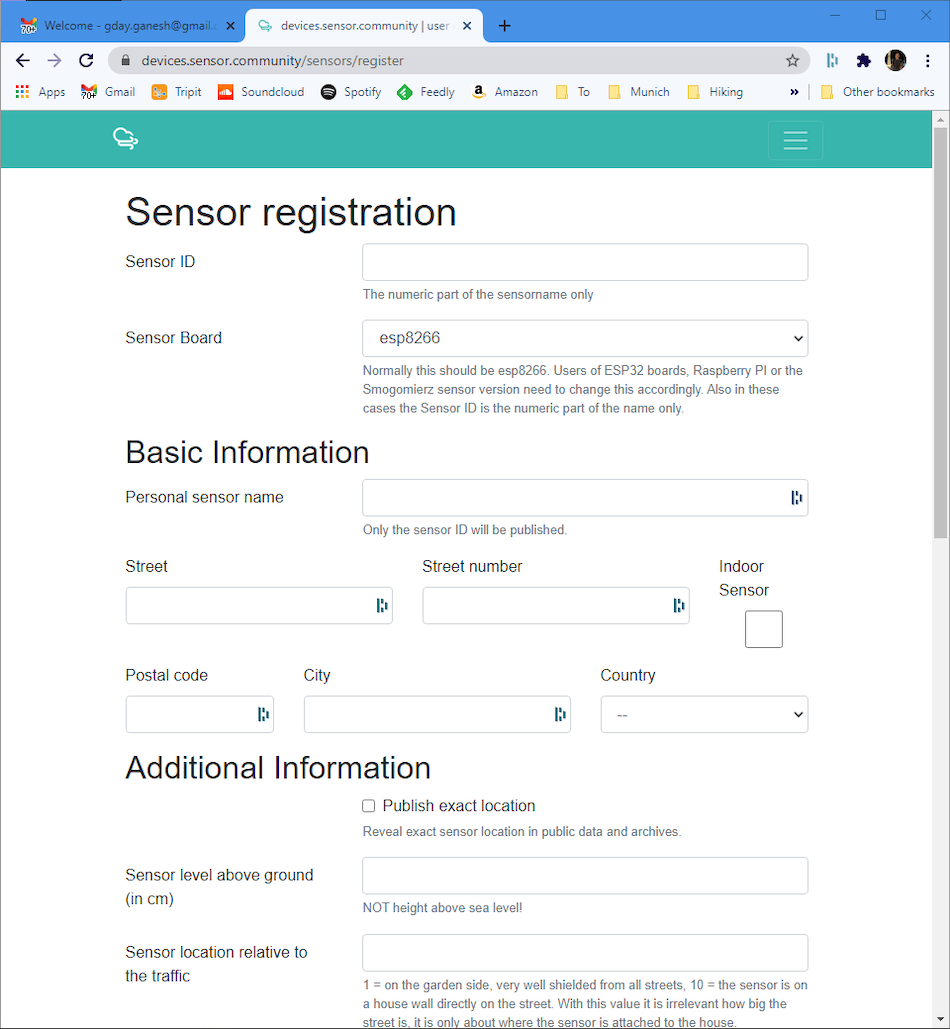 registration page for sensor community